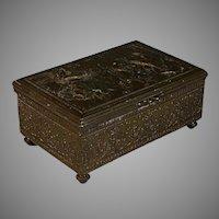 Vintage Repousse Jennings Brothers Heavy Bronze Trinket /Jewelry Box