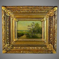 French School late 19th C Oil Landscape Painting Signed