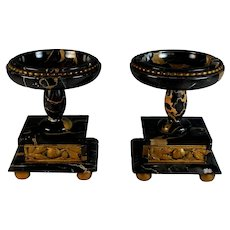 Pair of Antique French Bronze and Portoro Marble Garnitures Urns