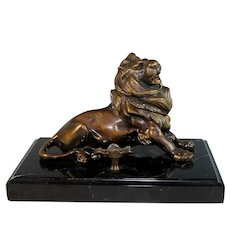 Vintage Bronze Lion Ink Well and Pen Holder with Marble Base