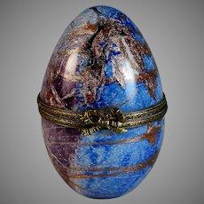 Vintage Signed French Art Glass Egg Box