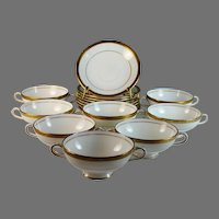 Minton Winchester Set of 8 Cream Soup Bowls & Saucers Gold Encrusted K132