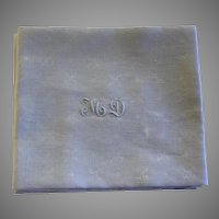 Set of 8 Antique French White Monogrammed Napkins M D