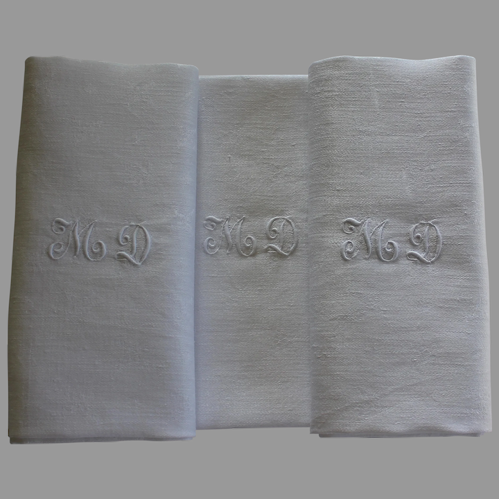 Set of 10 Antique French White Monogrammed Napkins A A plus 1