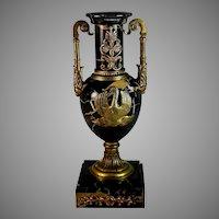 Antique French Portoro (Black) Marble and Bronze Garniture Urn