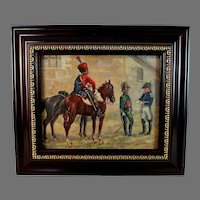 Painting of French Napoleonic Soldiers Signed S. Kalinsky