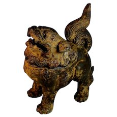 Antique Chinese Cast Iron Foo Lion Dog Censor
