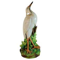 Antique French Crane Pottery Sculpture Vase