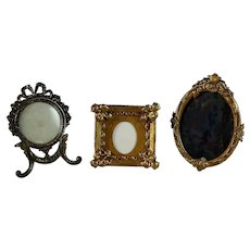 Set of three Antique Gilded Frames Picture Photo  Miniature Easel Bow Top