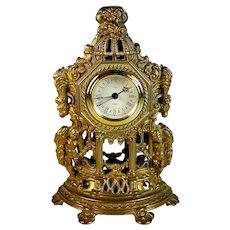 Vintage Uranio Bronze Mantle Clock Working
