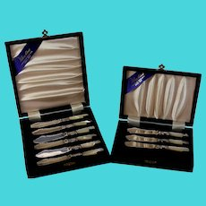 Silverplate & MOP Butter Knife Set for 9 Boxed Sheffield England Silver Plate
