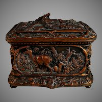 Antique Repousse Dresser Box, Hunting Theme