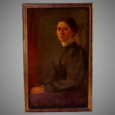 19th century Portrait of a Young Woman by Sadie Schwartz