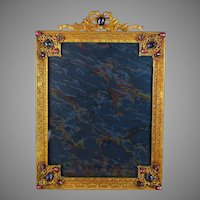 Antique E & JB Jeweled Bow Top Picture Photo Frame, Cabochons