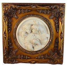 Antique Enrico Braga Marble Cherub Plaque: Gilt Frame & Perfugium Regibus Coin
