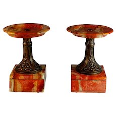 Antique Rosso Antico Marble and Bronzed Metal Garnitures Urns