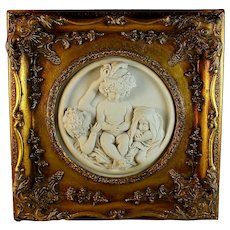 Vintage Enrico Braga Marble Cherub Plaque: Gilt Frame & Perfugium Regibus Coin B