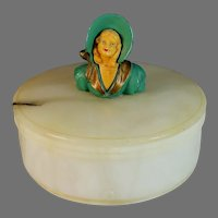 Vintage Art Deco Alabaster Box w Lid - Frankart Era