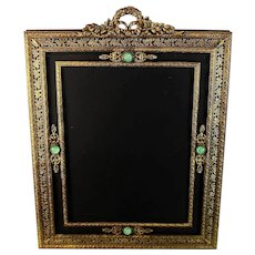 Antique Large Jeweled Picture Photo Frame, Cabochons