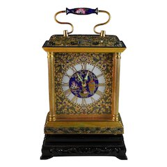 Vintage Champleve Table Alarm Clock with Date and Stand, Serviced