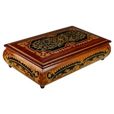 Handmade Inlaid Wood German Music Box Plays Blue Danube