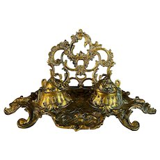 Antique Bronze Ornate Inkwell with Letter Stand