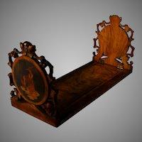 19th C  Sorrento Ware Inlaid Wood Book Shelf