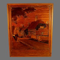 """Antique Inlaid Wood Marquetry Ornate Panel - Village Scene """"Tranquility"""""""