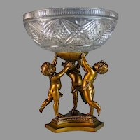 Vintage Glass and Metal Pedestal Centerpiece with Putti Base