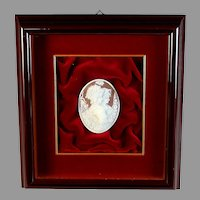 Vintage Framed Shell Cameo, Two Young Girls