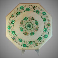 "19 1/2"" Marble Side Table Top Mosaic Inlay Marquetry MOP and Malachite"