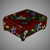 Old Chinese Cloisonne Hinged Enamel Trinket Box