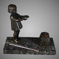 Antique Bronze Inkwell with Pen holder and Girl