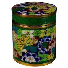 Old Chinese Round Cloisonne Box with Lid and Many Flowers