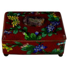 Old Red Chinese Cloisonne Hinged Box with Unusual Inset Semi-precious Stone