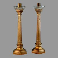 Set of Bronze French Candlesticks Candle Holder Set 13 5/8""