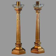 "Set of Bronze French Candlesticks Candle Holder Set 13 5/8"""