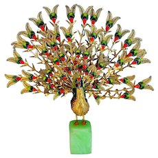 Vintage Cloisonne Peacock Bird Sculpture with Open worked Feathers on Green Stone Base