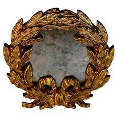 Antique Napoleonic Wreath Style Small Gilt Gilded Mirror