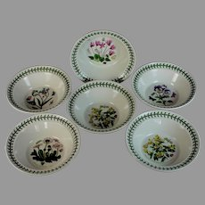 "Set of 6 Portmeirion Botanic Garden Oatmeal/Soup Bowl 6 1/2"" B"