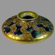 1891 Nippon Porcelain Vase ~ Maple Leaf Mark ~ Jeweled Hand Painted