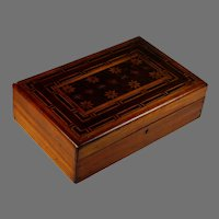 Antique Hand Made Inlaid Marquetry Wood Jewelry Box with Special Wood Inserts