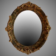 Vintage Oval Mirror with Sculpted Gold and Green Composite Frame