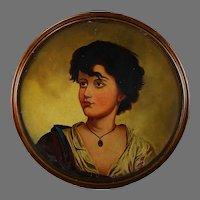 Antique Italian School 19th Century Oil Painting Portrait