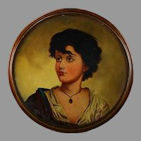 Antique Italian School 19th Century Oil Painting Portrait