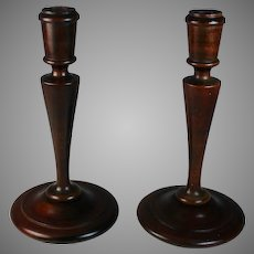 Pair of Mid Century Wood Candle Sticks