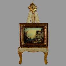 Antique Miniature Painting of a Harbor Scene