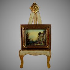 Antique Miniature Painting of a Harbor Scene