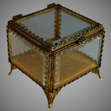 Antique French Beveled Glass Casket Box with Beveled Glass Lid