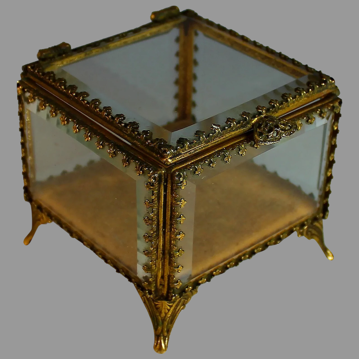 Antique French Etched Glass Box Casket with Beveled Glass Lid and sides